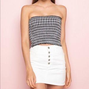Brandy Melville Button Fly Denim Mini Skirt
